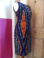 Ladies NINE WEST stretch aztec wiggle shift DRESS size UK 10 orange purple