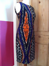Ladies NINE WEST stretch aztec wiggle shift DRESS size UK 10 orange purple