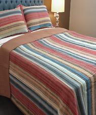 Country Stripes Queen / King Bedspread Set Throw Coverlet Quilt