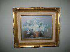 S. HILTON  ORIGINAL OIL ON CANVAS FLORAL FLOWER VASE PAINTING, in frame