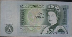 1980's BANK OF ENGLAND ONE POUND £1 NOTE SOMERSET CASHIER 100% GENUINE