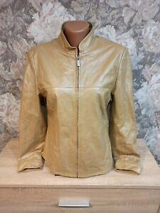 Madeleine womens leather jacket M gold olive color
