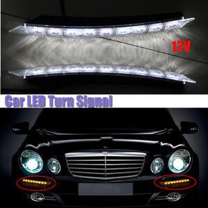 2× Car Led Daytime Running Lights, Car Flashing Lights, Net Lights With Steering