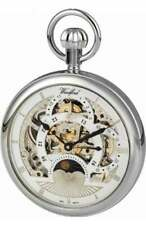 Woodford Chrome Plated 17 Jewel Sun/Moon Dial Mechanical Open Face Pocket Watch