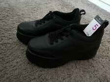 BLACK THICK WEDGE TRAINER SHOES SIZE 5 BNWT