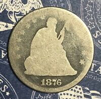 1876 Seated Silver Quarter. Collector Coin For Collection. FREE SHIPPING