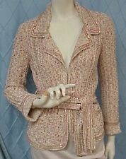 CHANEL designer pink/gold/metallic/sequined knit jacket/sweater,sz.38 IT.; Small