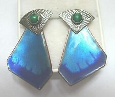 Vintage Enamel on Copper Earrings with Changeable Sterling Artisan Posts