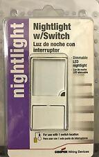 COOPER Combination LED Nightlight & Switch - White - 7738W-K - NEW