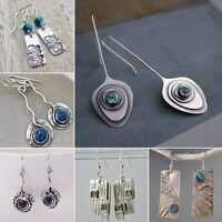 1 Paar Frauen Silber Saphir Baumeln Ohrbügel Mode Hochzeitsgeschenk Ohrringe