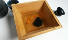 Original 3D acrylic goldfish painting in resin and decorative raw wood bowl