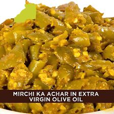 Home Made Green Chilli Pickles in Extra Virgin Olive Oil, 500 gm  Free shipping