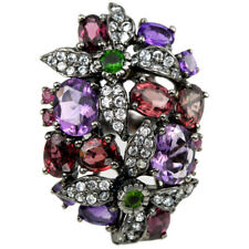 NATURAL AAA AMETHYST RHODOLITE CHROME DIOPSIDE CZ STERLING 925 SILVER RING 8