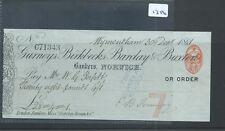 wbc. - CHEQUE - CH1386- USED -1882- GURNEYS, BIRKBECK, BARCLAY & BUXTON. NORWICH