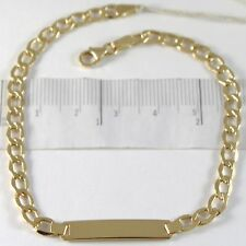 BRACELET YELLOW GOLD 750 18K, GRUMETTA AND PLATE FOR INCISION, 21 CM
