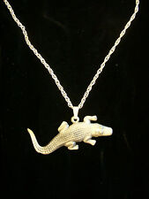 Large vintage pewter handcrafted Crocodile pendant necklace