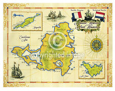 "19.5 x 25"" St. Martin Vintage Look Map Printed on Frenchtone Parchment Paper-YLW"