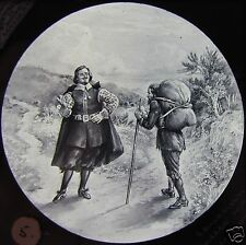 Glass Magic Lantern Slide TRAVELLERS MEETING ON A PATH C1890 MEDIEVAL TALE