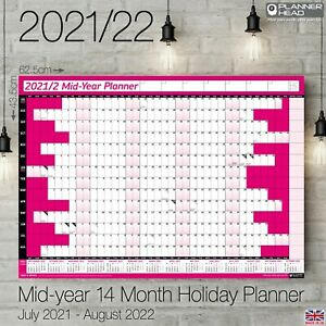 2021-2022 Mid-Year A2+ Wall Calendar Planner 14 Months Academic Home Office PINK