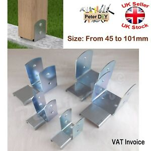 Galvanised Bolt Down BASE POST SUPPORT Fence Foot Base Brackets 45-101 mm