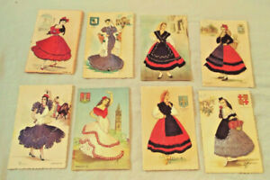 8 VINTAGE SPAIN EMBROIDERED POSTCARDS UNPOSTED