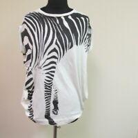 STELLA MCCARTNEY White Black Crew Neck Zebra Print Sleeveless Top Sz 40 B5081