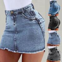Women's Ladies  Frayed Mid Waist Jean Denim Skirt Bodycon Short Mini Skirt
