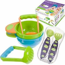 Baby Food Masher Bowl Set Training Spoon & Fork Utensil Travel Case Included