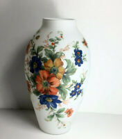 """Vintage Italian Art Glass Vase 12"""" Rossini Imported Hand Made And Painted"""