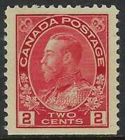 Scott 106 - 2c Carmine King George V Admiral, Straight Edge at bottom, VF-LH
