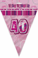 40th Pink Glitz Bunting - 12ft Long - Plastic Party Pennants Flag Banner