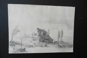 FRENCH SCHOOL 1830 - SUBTILE ANIMATED LANDSCAPE SIGN. STYLE - PENCIL DRAWING