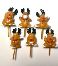 Rudolph Cake Toppers Mini Plastic Christmas Reindeer Yule Log Cupcake Decoration