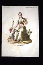 Allegoria della Verginità Incisione colorata a mano del 1820 Mitologia Pozzoli