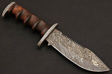 Damascus Steel Forged Blade, Survival,Tracker Camping,Sporting Knife Rose Wood
