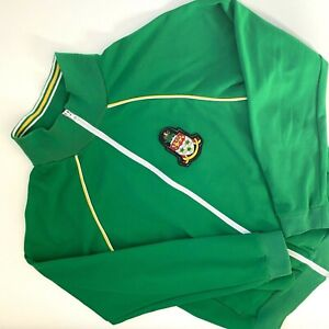 VTG Ace Brand Track Jacket Green Large Embroidered Coat of Arms Cayman Islands