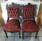 Pair of Walnut Carved Eastlake Parlor Chairs / Sidechairs  (SC187)