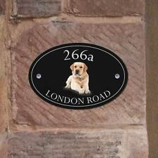 Golden Labrador Oval House Plaque, Dog House Number Front Door Sign + Fixings