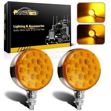2pcs 42led Amber Yellow Fender Turn Signal Parking Lights Lamp For Truck Trailer