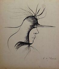 René William THOMAS (1910-?) Dessin original, composition surréaliste