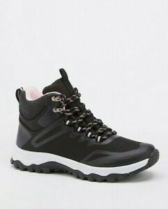 Womens Walking Hiking Boots Wide Fit Size 6 to 6.5 Black Water Resistant Lace Up