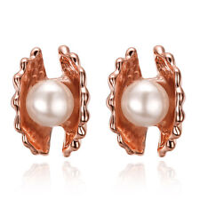 "18K Rose Gold Plated White Earrings Stud Pearl Push Back Sea Shell 0.44"" L188"