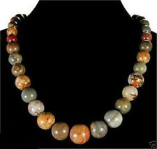 """Round Gemstone Beads Necklace 18"""" Natural 6-14mm Multicolor Picasso Jasper"""