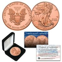 2019 Genuine 1 OZ .999 Fine Silver American Eagle Coin - 23KT ROSE GOLD with BOX