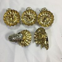 Gold Christmas Tree Clip On Light Reflectors Pinecones Set of 5 Vintage