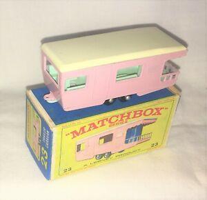 """Matchbox Regular Wheels No 23D TRAILER CARAVAN, Mint, Near Mint Original """"E"""" Box"""