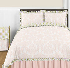 Sweet Jojo Designs Pink White Damask Gold Dot Girls Kids Queen Full Bedding Set