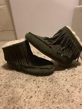 EMU  Australia Women's Cayote Slippers Fringe Mid Rise Moccasins Size 6 US