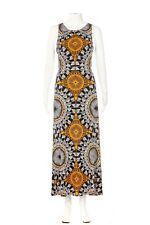 LONDON TIMES Maxi Dress Size 10 Blue Yellow Sleeveless Geo Print Cocktail