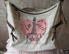 Rare! RIVER ISLAND Vtg *Love Paris* Pink Heart Stripe Stud Leather Fabric Bag